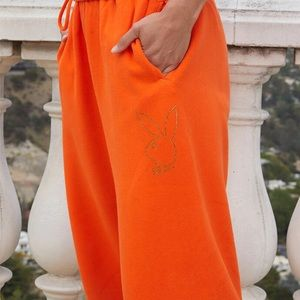 SALE playboy rhinestone orange sweatpants